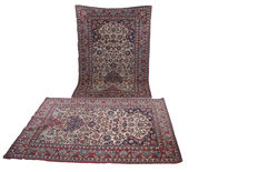 "Antique pair of Isfahan wool and thread rugs sizes 215cm x 145cm  (7'x4'8"") circa 1920"