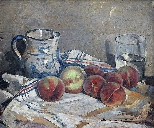 Carlos Becquer Domingues (1889 - 1968) - Still life with jar and peaches