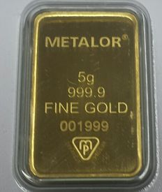 Gold ingot, 5 g, Metalor Switzerland with certificate