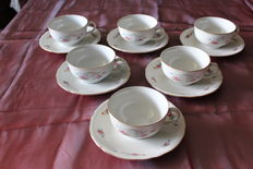 6 RICHARD GINORI porcelain teacups-ca. 1940-50-Italy