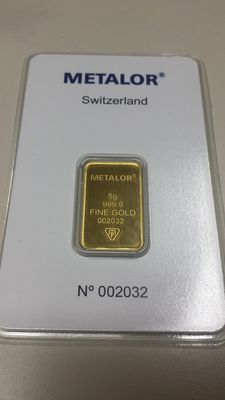 Gold ingot, 5 gr, Metalor Switzerland with certificate