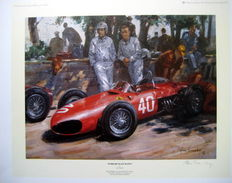 """Ferrari Team Mates"" - Ferrari Shark nose - Monaco Grand Prix 1961 - Wolfgang von Trips/Phil Hill  : Artist Alan Fearnley 1996"