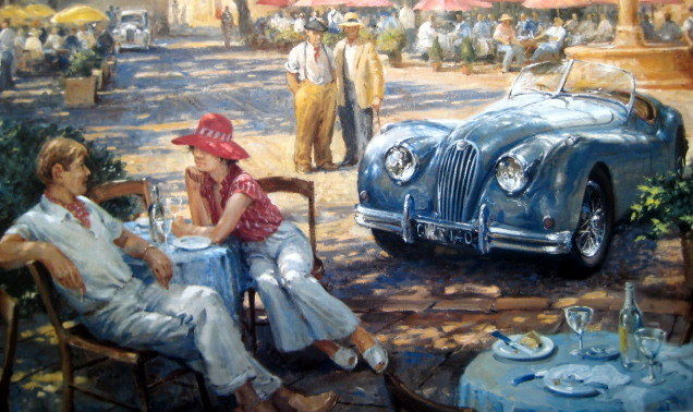 "Fine Art Print ""Cat Nap in the Provence"" -  Jaguar XK140 and owners taking a lunchtime break in the Provence - 1954"