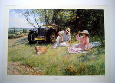 "Art Lithograph - "" The Four Of Us "" - MG Magna 1930 - English Countryside"