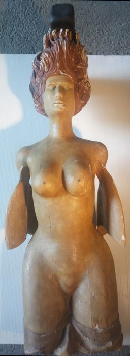 Large painted wooden sculpture depicting a mermaid as a figurehead - Italy - first half of the 1900s