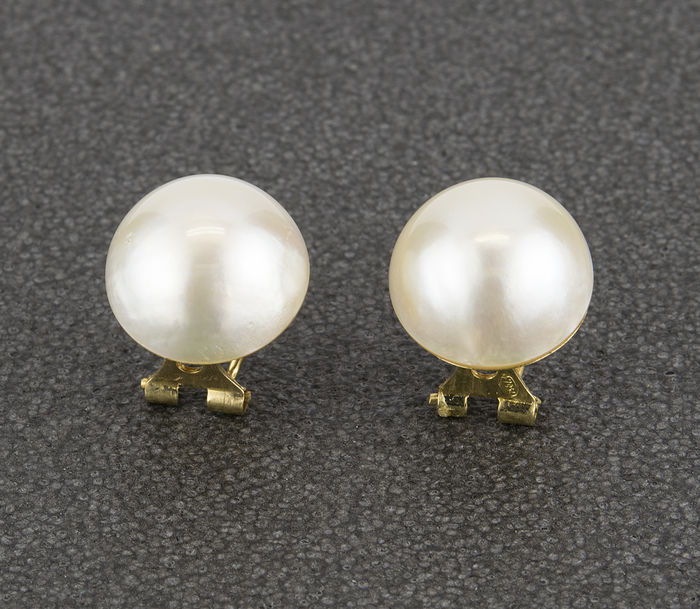18 kt (.750) yellow gold - Earrings - Cultured mabé pearls of 11.40 mm in diameter