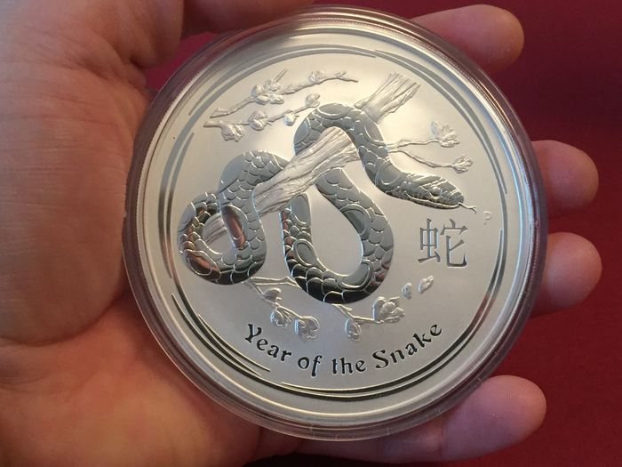 Australia - Lunar II 10 oz Year of the Snake - 10$ - 999 silver, fine silver