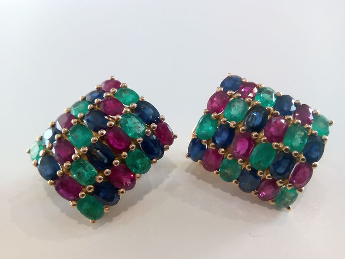 Rectangular-shaped gold earrings, set with emerald, ruby and sapphire gemstones.