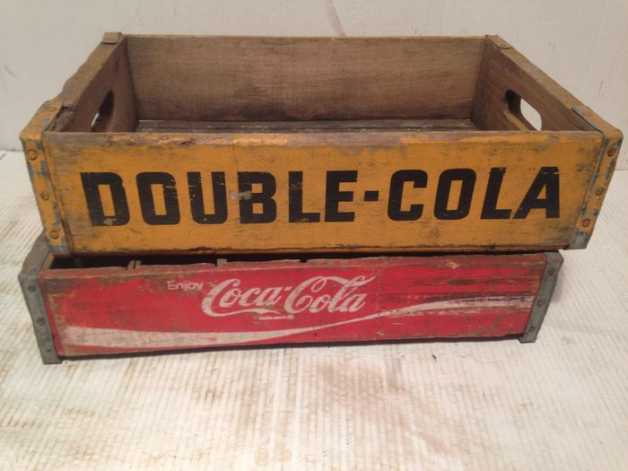 Two Vintage Crates From The Usa Coca Cola Double Cola 1970s
