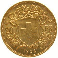 Switzerland - 20 francs, 1922 B, Bern Vreneli - gold