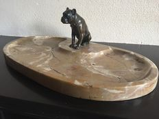 A marble vide poche with bronze French bulldog, France, approx. 1920-1930