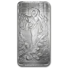 USA 10 oz 999 silver shield bar - Jesus Clears the Temple