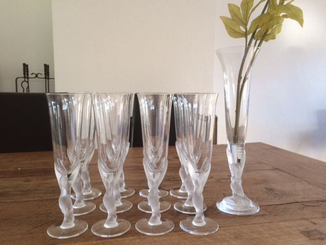 A Franklin Mint House Of Faberg Set Of 12 Crystal Champagne Glasses