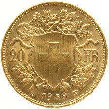 Switzerland – 20 francs, 1949 B, Bern Vreneli – gold