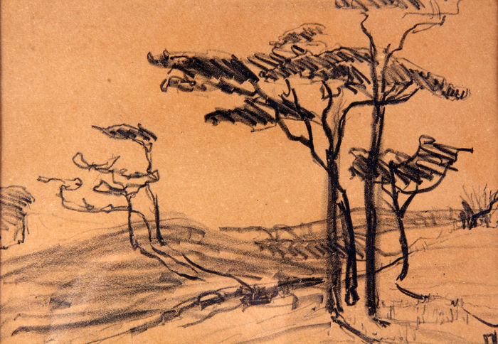 Wilhelmina Helena Pauline Maria, Princess of the Netherlands (1880-1962) - Study of trees in a landscape - A personal new year's wish, from the estate of a lady-in-waiting, lady F.L.H. van de Poll - 1933