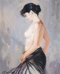 E. Fayuela (20th century) - Young woman posing