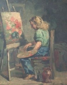 Emil Baes (1879-1953) - Girl with Easel