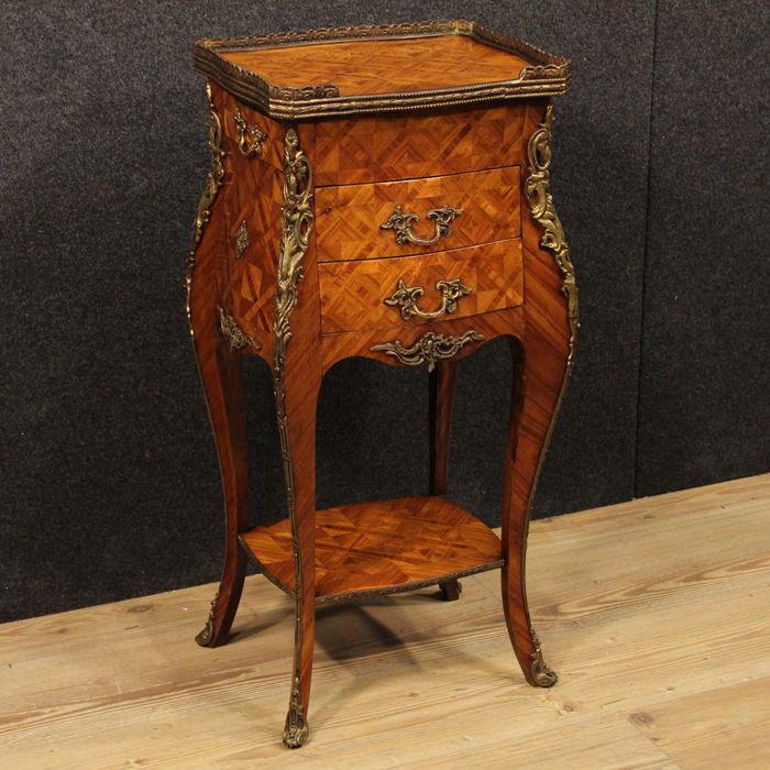 Rosewood inlaid bedside table Louis XV style with brass rim and ...