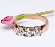 Gold Trilogy Solitaire diamond Engagement ring in 14 kt hallmarked Rose gold