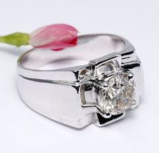 White gold men's 1.50 ct. Solitaire diamond ring