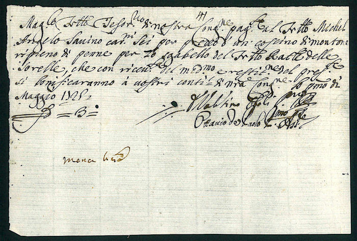 Kingdom of Naples - Certificate of Credit Real Stabilimento di Santa Maria  Vertecoeli - Year 1729 - Catawiki