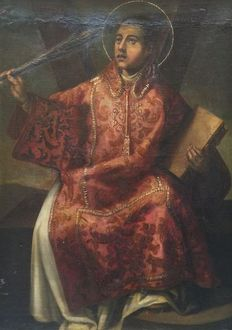 School  of Valencia (17th century) - San Vicente Mártir with the instruments of his martyrdom