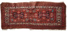 Handmade antique collectible Turkoman Yomud rug 1.3' X 3' ( 39cm X 91cm) c.1880