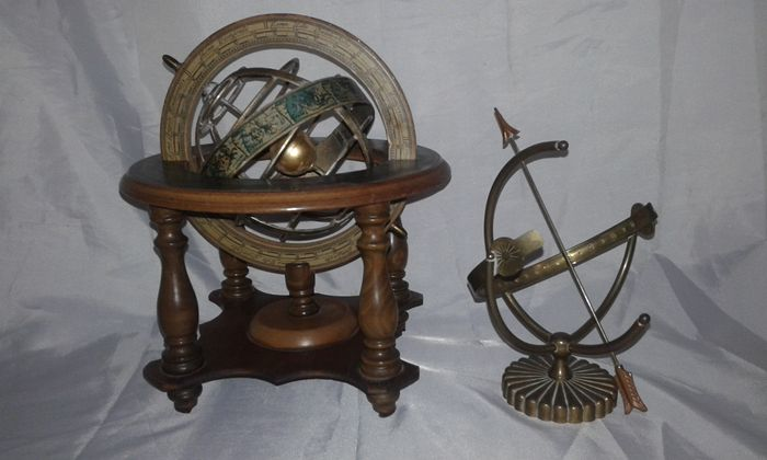Old world wooden vintage table top zodiac map spinning globe and old world wooden vintage table top zodiac map spinning globe and vintage brass armillary sphere sundial gumiabroncs Gallery