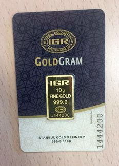 Brand new 10 grams gold bar from the LBMA refinery IGR (Istanbul Gold Refinery)