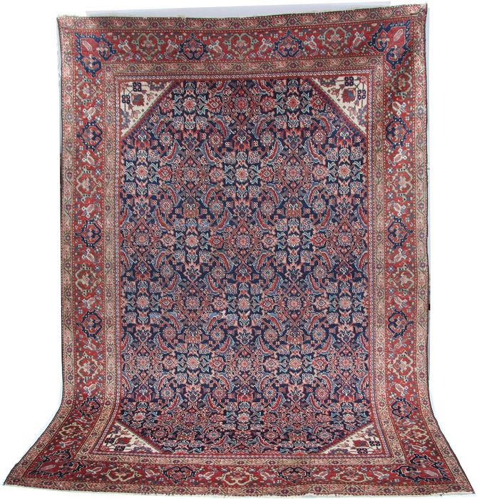 "Antique wool Persian Farahan rug in blue colour size 205 x 145cm (6'7""x4'7"")"