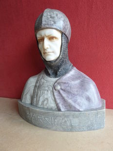 Marble and alabaster bust of a knight - titled Parsifal - signed Hertel - early 20th century