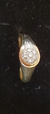 Yellow gold ring, brand Brev, 18 kt - diamonds, 0.14 ct - size 16.75