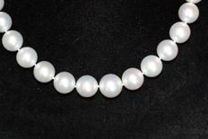 South Sea pearl necklace with gold spherical clasp.