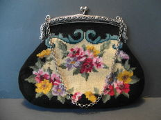 Silver Purse hoop with embroideredroided purse 20th century.