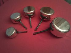 """Lot of 5 new red tinned copper pans """"Les Cuivres de Fauconey"""" Professional quality, artisanal craftsmanship and made in France."""