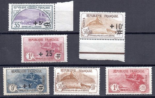France 1922/26 - For the aid of war orphans - Yvert no. 166 to 169 and no. 230 and 231