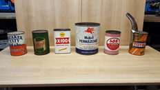 Lots of old oil cans - 6 x - Shell, Total, Castrol, Mobil