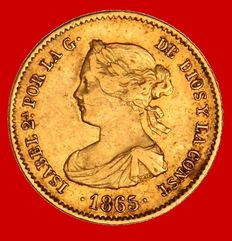 Spain – Isabel II (1833–1868), Four escudos gold coin, Madrid, 1865