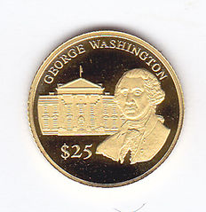 Liberia - 25 Dollars 2000 'George Washington' - Goud
