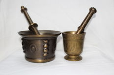 Two  bronze and copper mortar with pestle - France- 20th Century