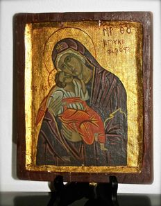Hand painted Icon on Oil Cloth - Greece - 20th century