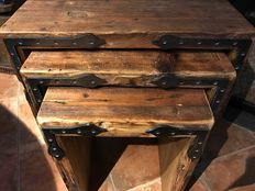 Three chairs/ little tables made of antique wood