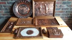 Lot of 7 red copper framework/plate decorations made in France + 1 letter box