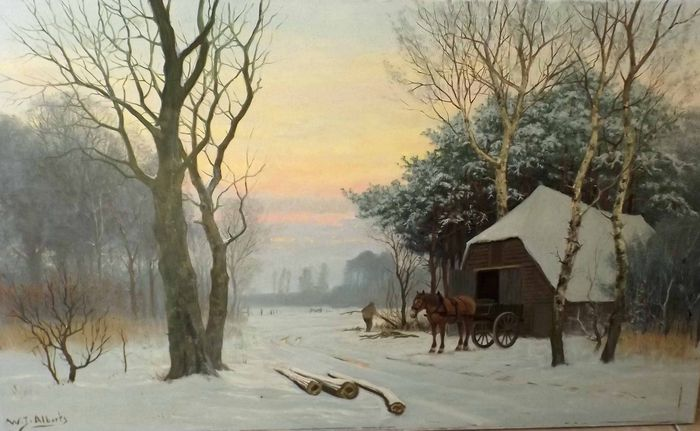 W.J Alberts (1912 - 1990) - . Houtsprokkel in de Winter.