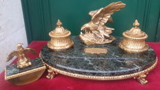 Outstanding inkwell with a base in Alps green marble and gilded bronze, belonged to Count Vittorio Olcese - Italy - 20th C