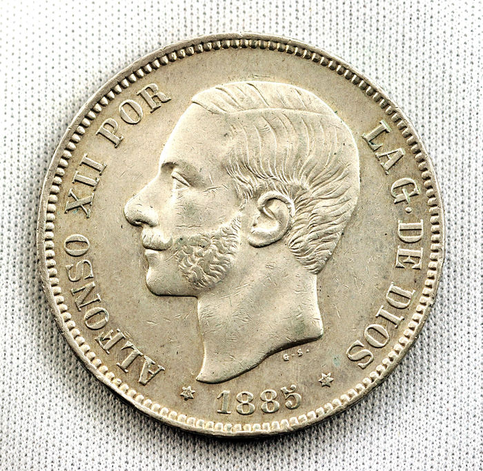 Spain – Alfonso XII – 5 pesetas silver coin – 1885 – Madrid