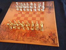 Large chess set (50 x 50) - The Christendom against the Arab World - Silver-plated bronze