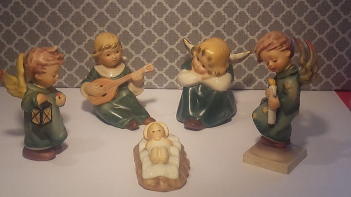 Goebel Hummel-Christmas Manger with 2 Hummel angels and Goebel angels.