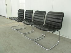 Dux - black leather frame chairs (4x)