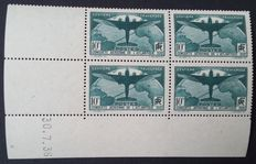France 1936 – 10f. dark green in a Block of 4 corner dated. Stamps are signed Roumet with Roumet certificate – Yvert n° 321.